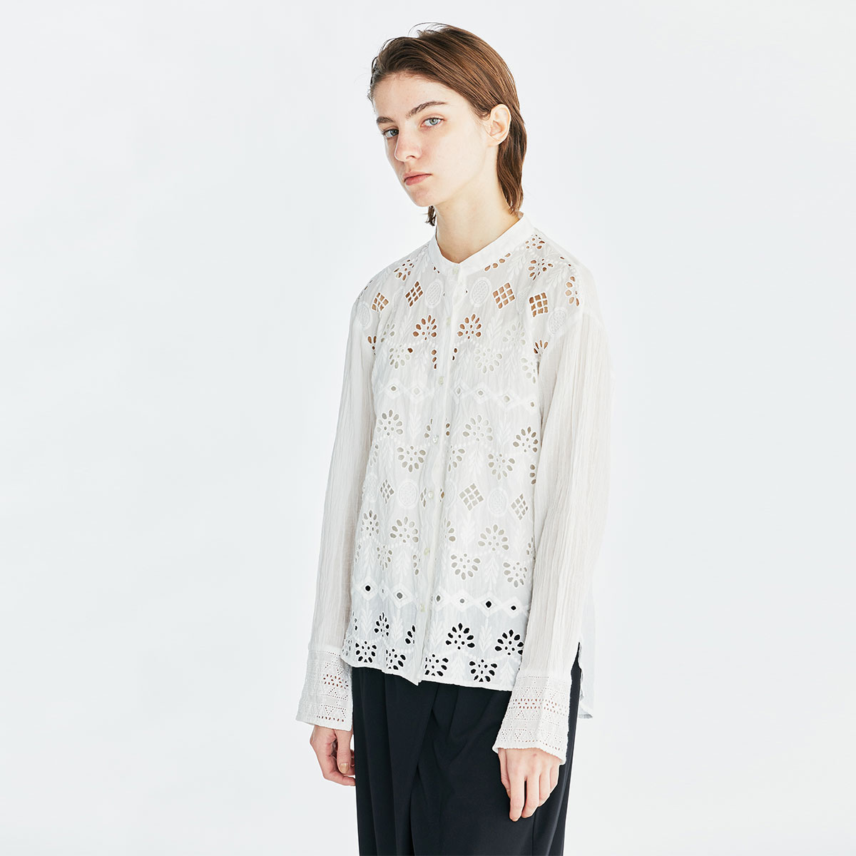 band collar lace shirt