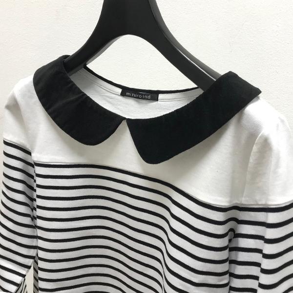 「mizuiro ind border shirt collar pullover」の写真